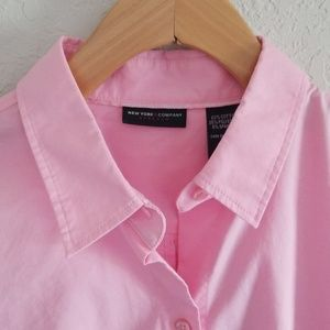 NY&Co Pink Madison 3/4 Sleeve Button Down